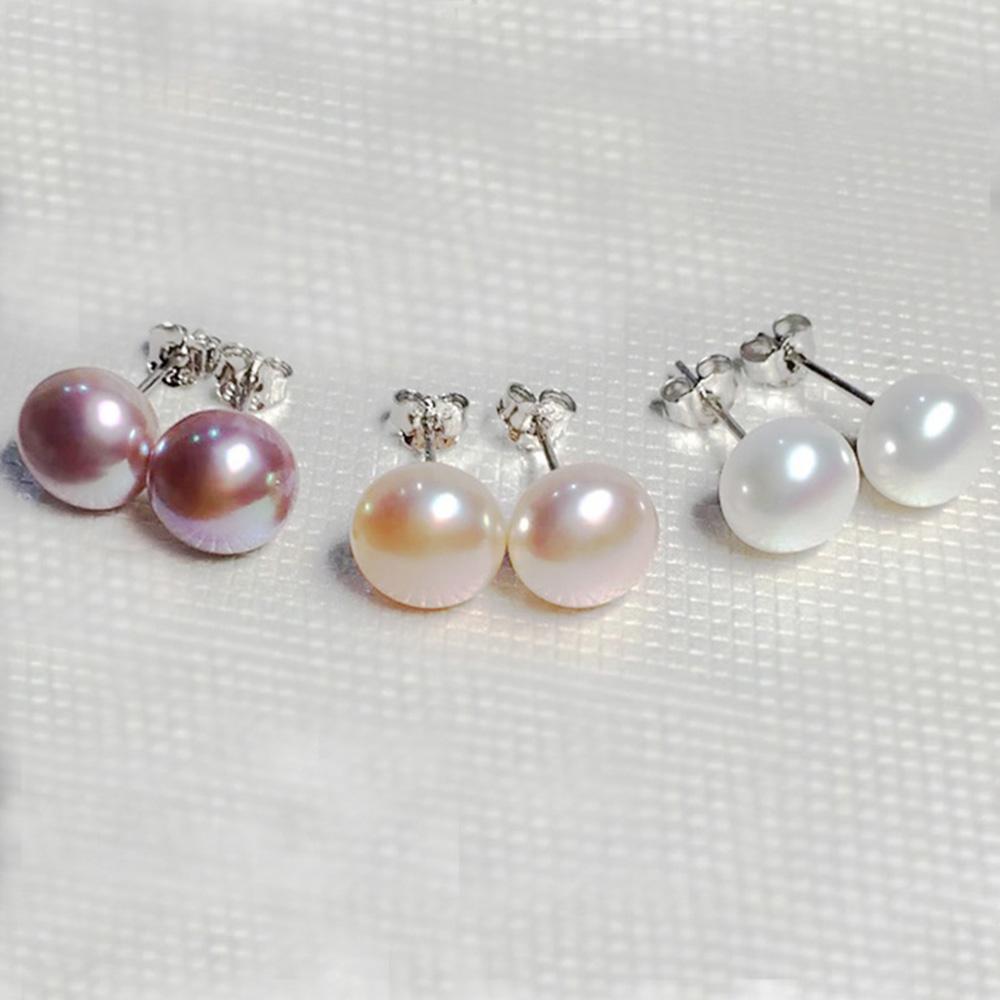 Pearl earrings beautiful cultured white pink lavender black gray fresh water pearl clip earrings